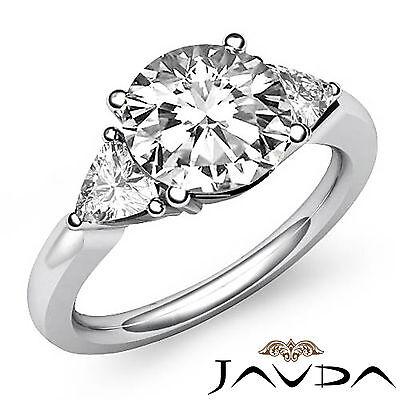 Trillion Cut 3 Stone Basket Set Round Diamond Engagement Ring GIA I VS2 1.55 Ct