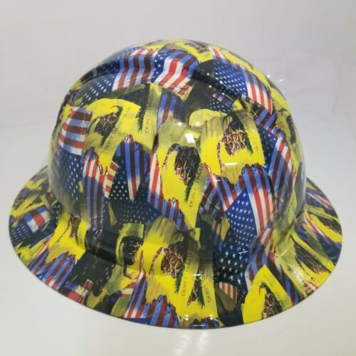 FULL BRIM Hard Hat custom hydro dipped , NEW DON'T TREAD ON ME , USA FLAG 1