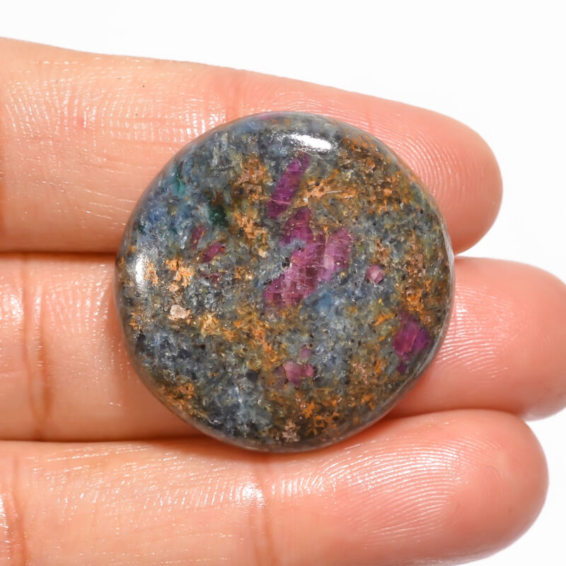 Natural Ruby Fuchsite Round Cabochon Loose Gemstone 43.5 Ct. 27X27X6 mm EE-19050