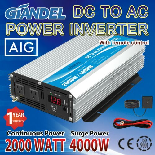 2000W Power Inverter Modified Sine Wave 12V to 110 V-120 V USA Transistors
