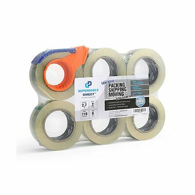 Quiet, Industrial Grade Clear Packing Tape (6 Rolls) - 110 Yards per Roll - 2...