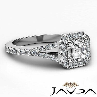 Asscher Shape Diamond Engagement GIA H VS2 18k White Gold Halo Pave Set Ring 1Ct 9