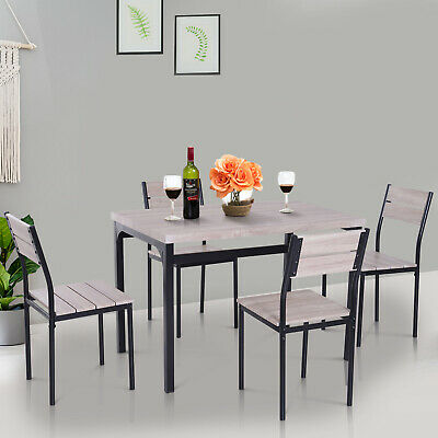 5pcs Wooden Bar Dining Set Counter Height Table Chair Home Furniture Kitchen