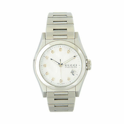 Gucci Women's Pantheon Diamond  Mother of Pearl Dial Steel Watch
