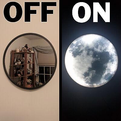 10 Inch Round Mirror with Beautiful Moon LED Nightlight - Modern Minimalistic...