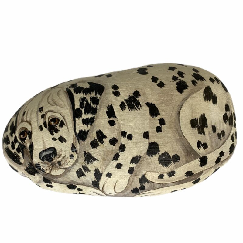 Hand Painted DALMATIAN Dog Rock Artist Signed M Pollock 1987 Paper Weight Large