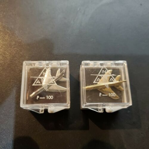 Two Vintage USAF F-100 Super Sabre  Lapel Pin Gold & Silver Tone