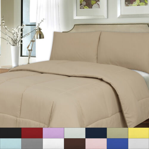 Solid Color Bed Comforter Polyester Fill Microfiber Covering All Sizes Bedding