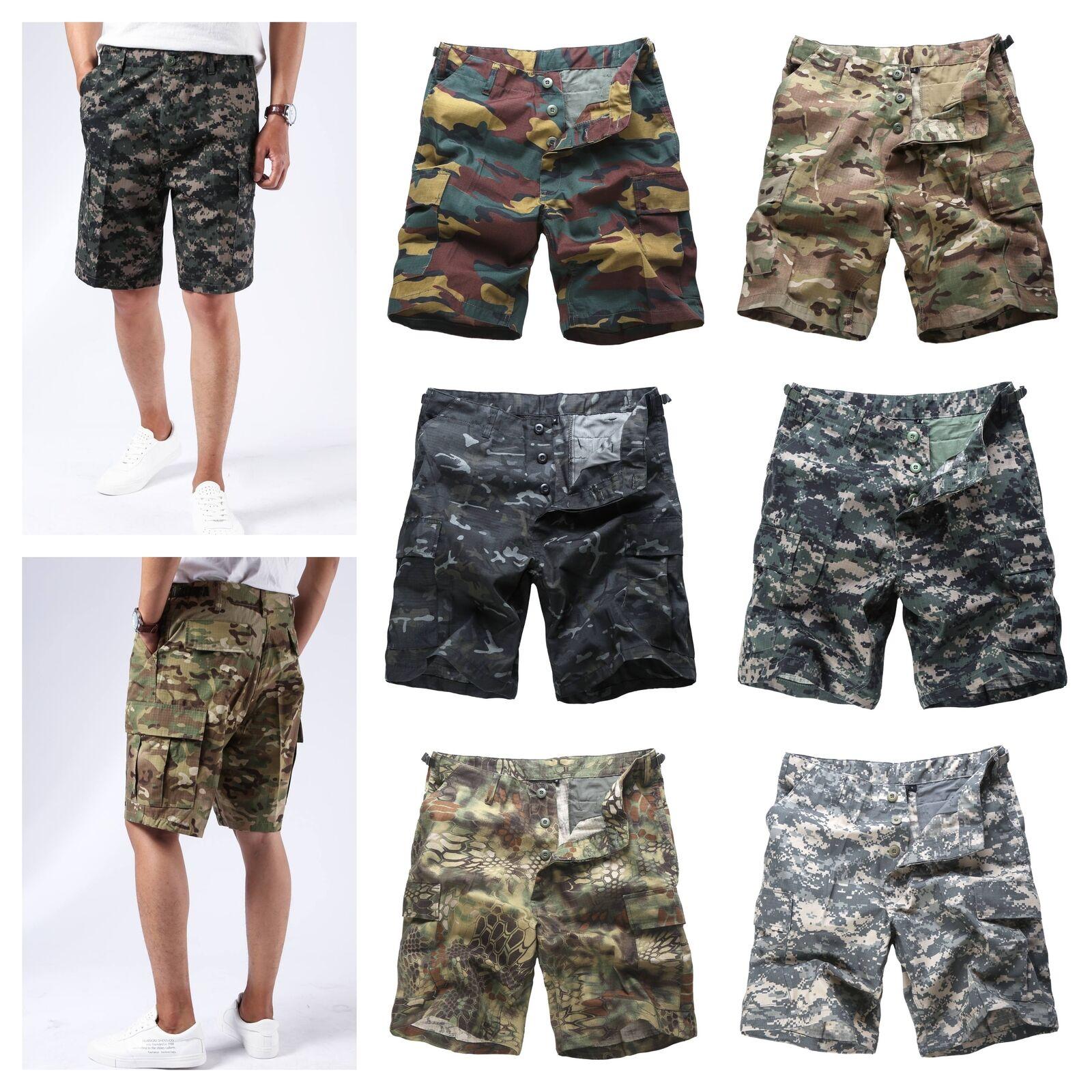 Mens Army Military Combat Camo Shorts Fashion Cargo Shorts Camping Work Fishing