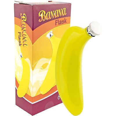 BANANA FLASK Novelty 6oz Flask Funny Gag Gift Booze Gift Weird Flasks Humor Bar Tools & Accessories