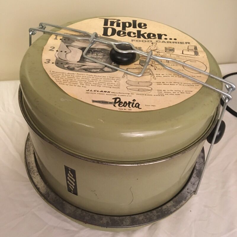 Vtg JL CLARK Peoria Triple Decker Food Carrier Cake Pie Green MCM Free Shipping
