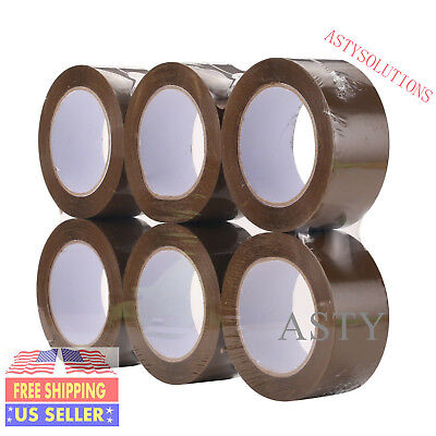 6 Rolls 2x110 Yards330ft Box Brown Carton Sealing Packing Package Tape 2mil