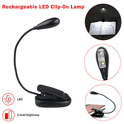 USB Rechargeable LED Light Dimmable Clip-On Desk Table Reading Book Lamp White ()