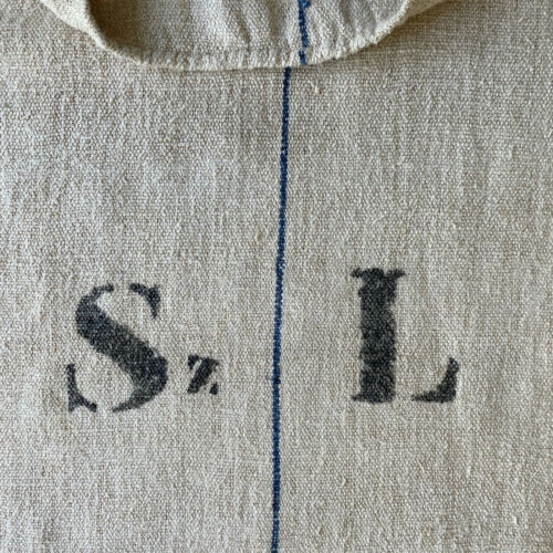 "Antique Monogrammed Grainsack 1850 Linen Hemp Grain Sack ""Sz L"" Monogram Print"