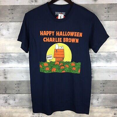 Peanuts Mens Sz S Graphic Tee Happy Halloween Charlie Brown Snoopy Pumpkins Boo (Charlie Brown Halloween Graphics)