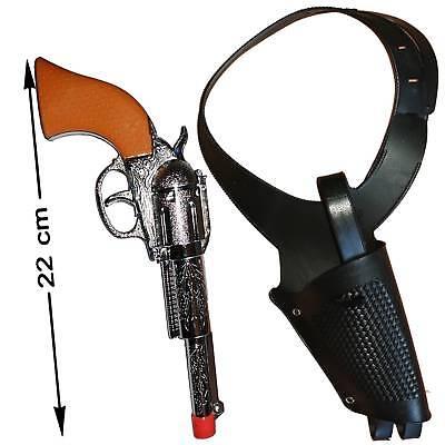 Colt Pistole 22 cm und schwarzes Holster für Cowboy Western Kostüme - Cowboy Pistole Holster Kostüm