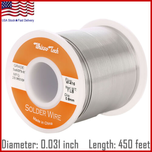 "60/40 Tin Lead Rosin Core Solder Wire Electrical Sn60 Pb40 Flux 0.031""/0.8mm 1lb"