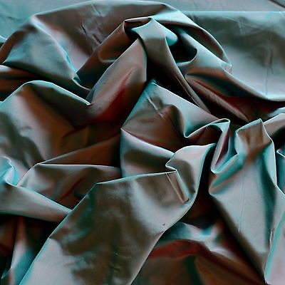"Teal/Red Iridescent Silk Taffeta 100% Silk Fabric 54"" W, By The Yard (TS-7005)"