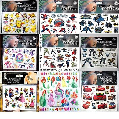 NEW Kids Temporary Tattoos Stickers Avengers Dora Batman Spider Man Sofia - Avengers Tattoo