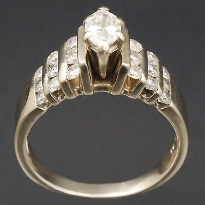 Modern, Solid 14K White Gold, Marquise Cut Diamond, Wedding Engagement Ring