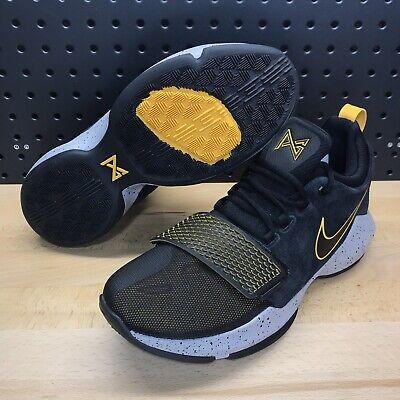 e62fc6376a25 Nike PG 1 Paul George Black Gold Basketball Shoes Men s Size 9