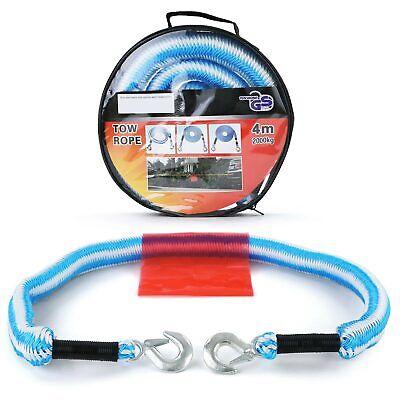 PKW KFZ Sicherheits Abschleppseil elastisch 4 Meter 2000 kg 2T Blau Weiss