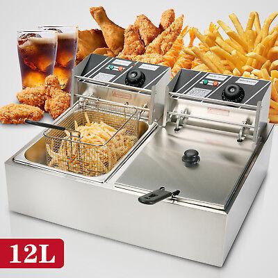12l Dual Tanks Electric Deep Fryer Commercial Tabletop Fryer Basket Scoop 5000w