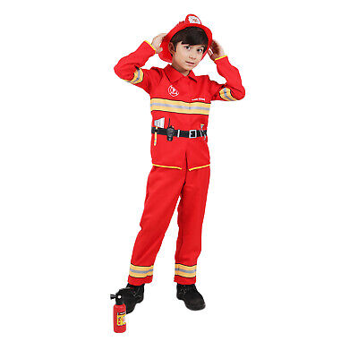 Boys Firefighter Fireman Costume Halloween Party Kids Fancy Dress Uniform Outfit