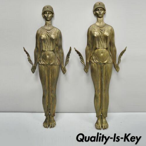"""19th C French Neoclassical Cast Bronze 23"""" Figural Female Ormolu Furniture Mount"""