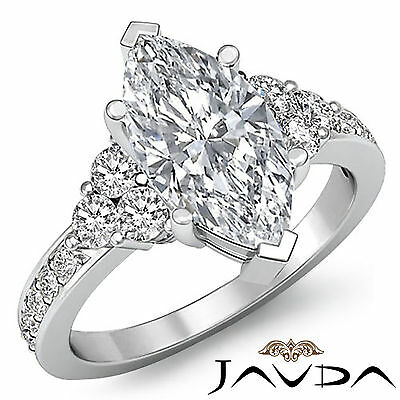 3 Stone Prong Setting Marquise Natural Diamond Engagement Ring GIA I SI1 1.5 Ct