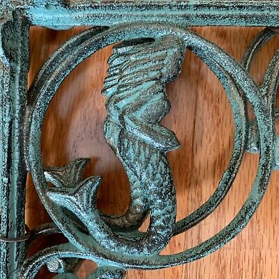 2- Set Antique-look Mermaid Figurehead Wall Shelf Brackets Cast Iron 9 inch for sale  Shipping to India