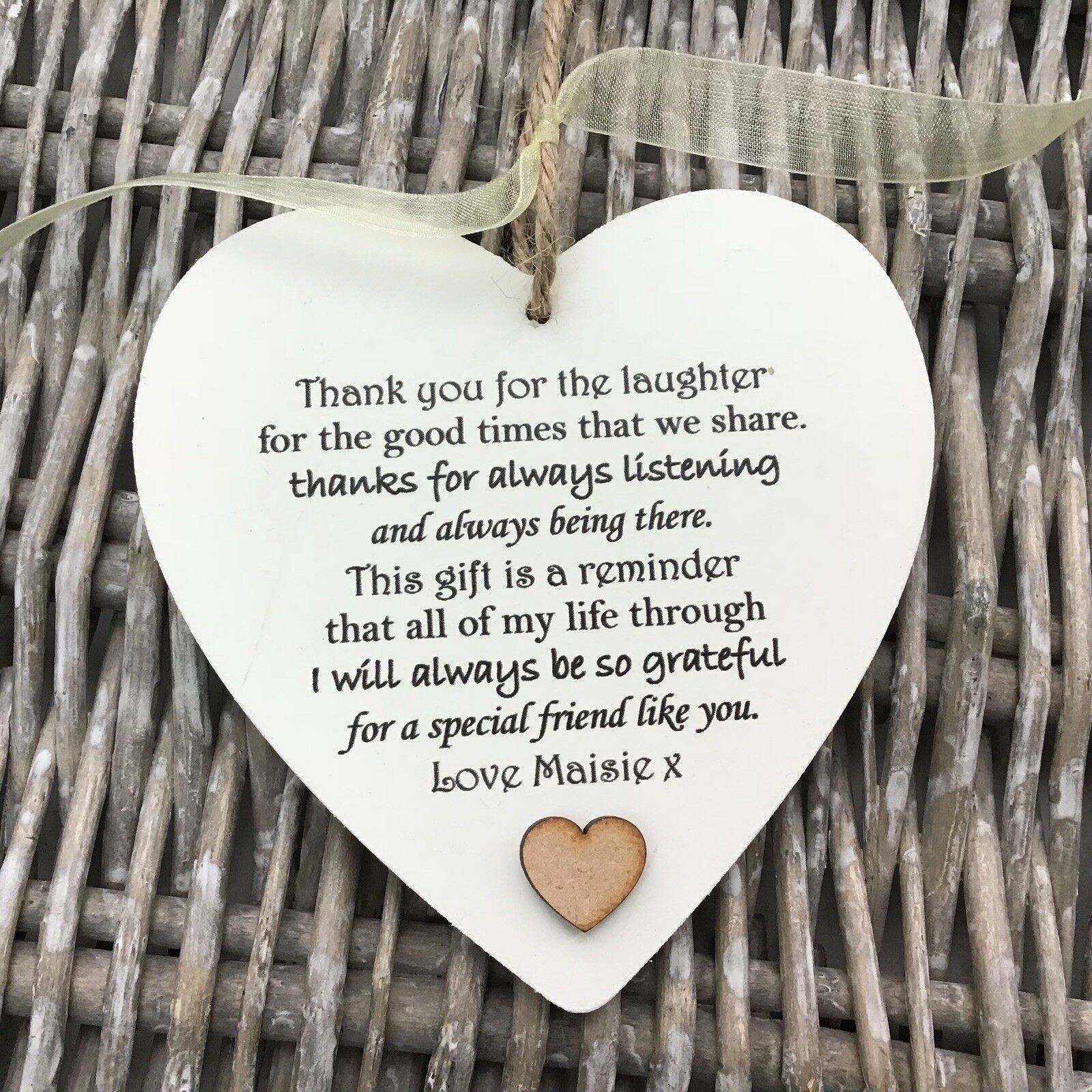 Shabby personalised Gift Chic Heart Plaque Special BEST FRIEND ANY NAMES Gift - 332886006291
