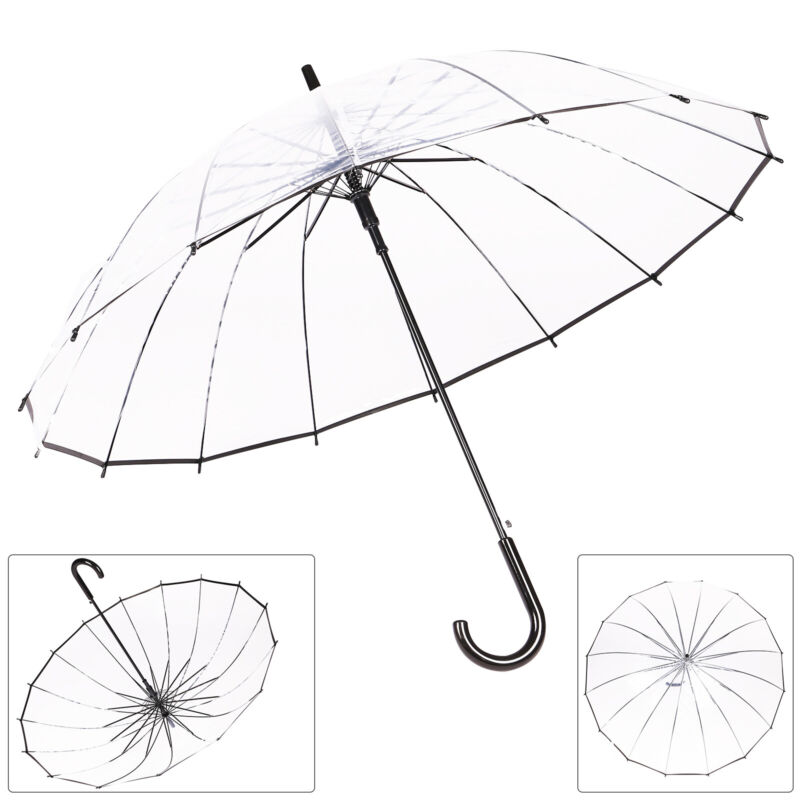 Regenschirm Durchsichtig Transparent Automatik Golf Partnerschirm Ø100cm Groß