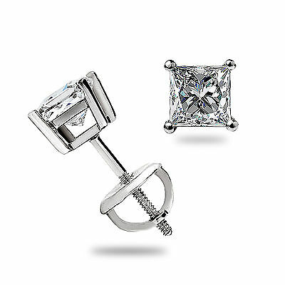 .40 Ct Princess Cut Solitaire STUD EARRINGS SCREW BACK 14K White Gold 3MM Gift