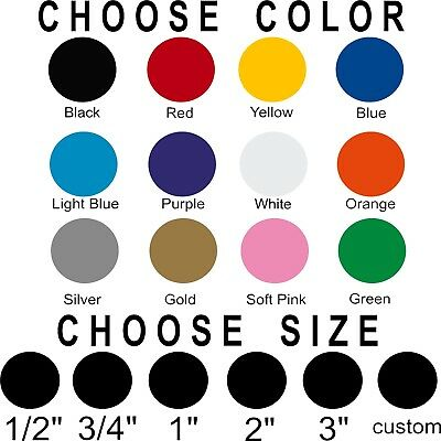 Polka dot stickers! Pick size and color! Permanent outdoor glossy vinyl (Dot Calendar)