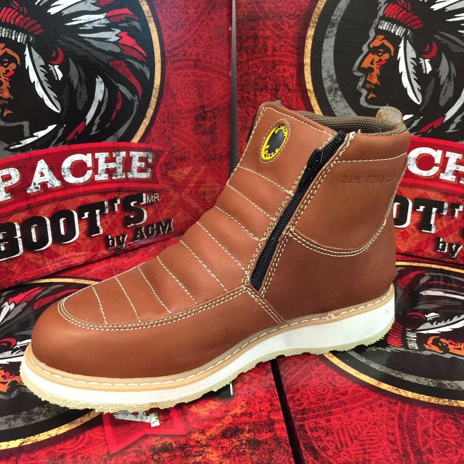 MEN'S WORK BOOTS GENUINE LEATHER ZIP UP SAFETY SOFT TOE OIL RESISTANT HONEY
