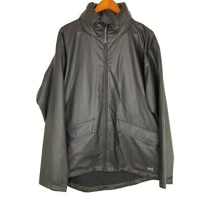 Helly Hansen Mens Hooded Windbreaker Raincoat Sealed Seams Black Large