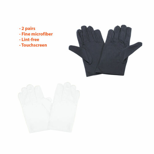 2Pairs Microfiber Watch Jewelry Hobby Care Handling Inspection Touchscreen Glove