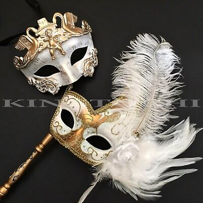 White Gold Rome Warrior & Feather Stick Prom Halloween Costume Party Mask