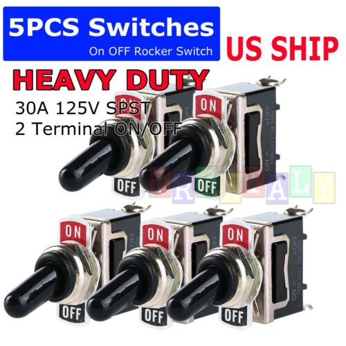 X5 Toggle Switch Heavy Duty 20A 125V SPST 2 Terminal ON/OFF Car Waterproof ATV