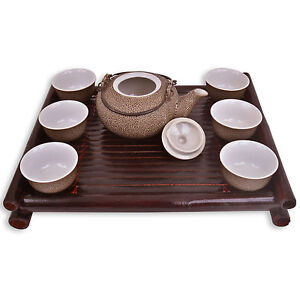 Chinese Tea Set - Brown / Grey Ceramic - Bamboo Wooden Tray