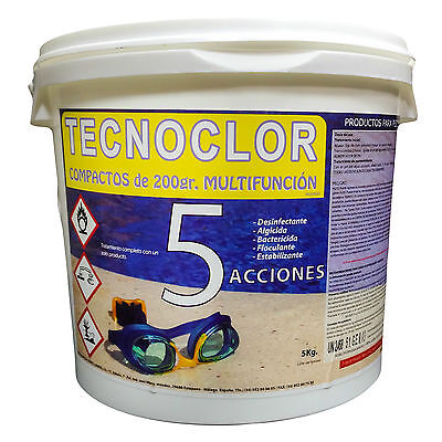 Pack 4 cubos de cloro 5Kg c/u en tabletas 5 acciones Tecnoclor...