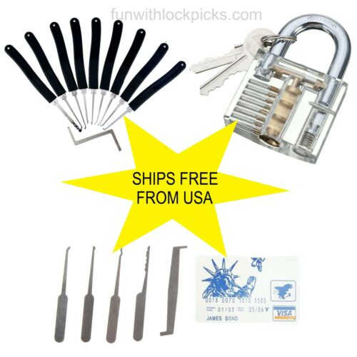 9-pc lock set, transparent lock, card case w/picks, all included, SHIPS FROM US