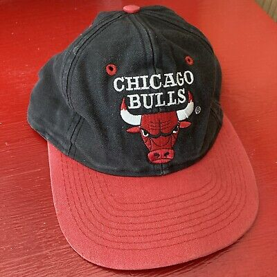 Vintage 90s Chicago Bulls Logo 7 Black Red NBA Snapback Hat Cap
