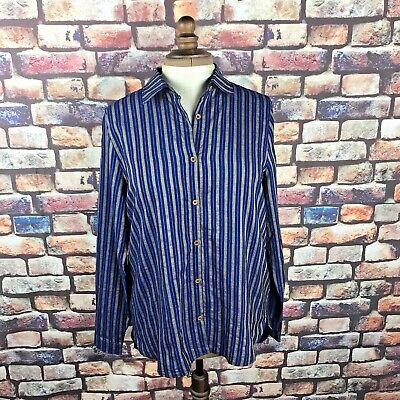 King and Tuckfield Ladies Long Tail Shirt Indigo Stripe RRP£145 - Medium