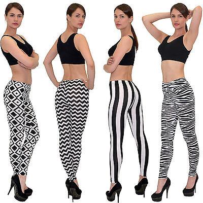 Weiße Streifen Leggings (SALE Leggings Leggins Hose Zebra Optik Hose mit schwarz weiß Streifen)