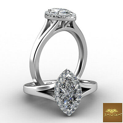 Halo Split Shank French Pave Marquise Diamond Engagement Ring GIA F VS2 0.7 Ct