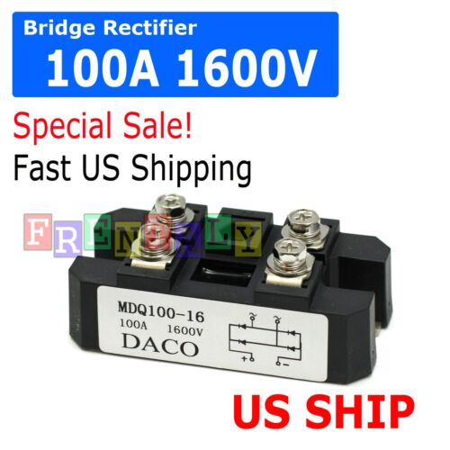4 Terminals Single-Phase Diode Bridge Rectifier MDQ 100A Amp High Power 1600V