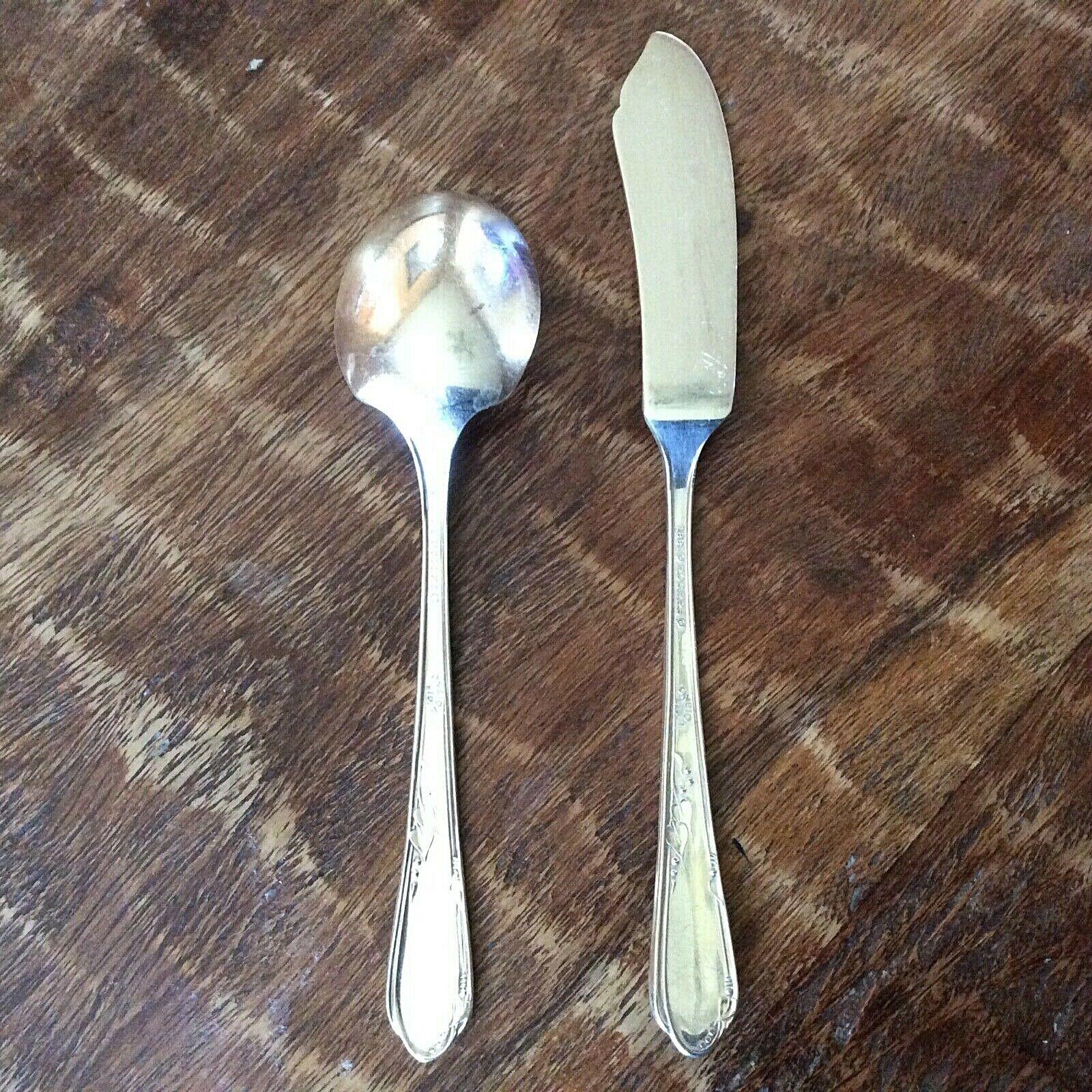 1881 Rogers Oneida Meadowbrook Heather Sugar Spoon Butter Knife Silver Plate Set - $13.49