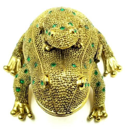 Vintage Piggyback Frog Trinket Box w/ Magnifiying Glass Green Stones Cottagecore